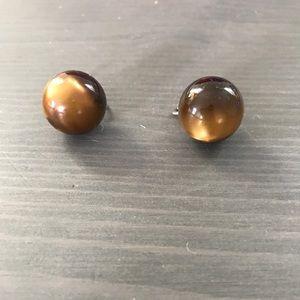 Vintage Luminous Brown Earrings